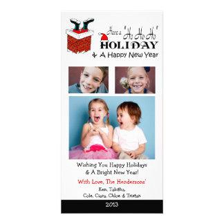 X4 Santa Feet Chimney Xmas Cards Personalised Photo Card