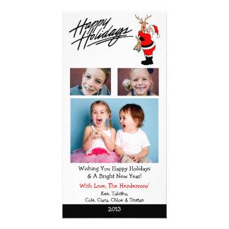 X4 Santa Hugging Rudolph Christmas Cards Photo Greeting Card