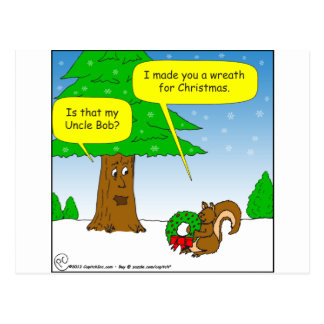 x59 uncle bob christmas wreath cartoon post card