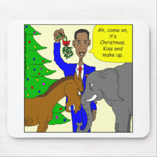 x69 donkey elephant president Obama cartoon Mousepad