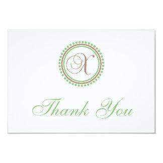 "X Dot Circle Monogam Thank You Cards (Brown/Mint) 3.5"" X 5"" Invitation Card"