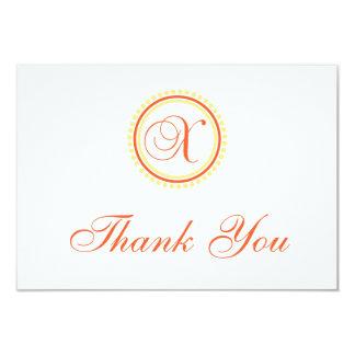 "X Dot Circle Monogam Thank You (Orange / Yellow) 3.5"" X 5"" Invitation Card"
