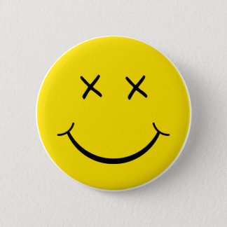 X Eye Smiley Face 6 Cm Round Badge