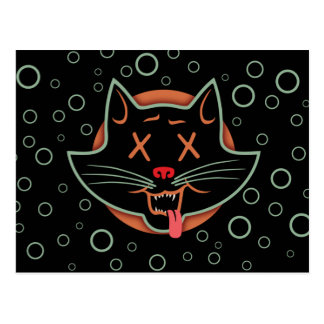 X-Eyed Black Cat Postcard