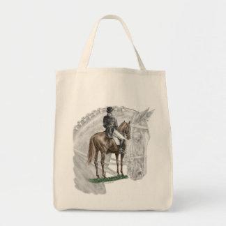 X-Halt Salute Dressage Horse Grocery Tote Bag