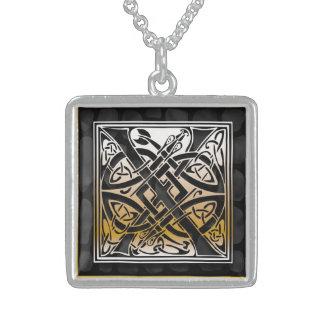 "X Initial Monogram ""Celtic Black Stone"" Necklaces Pendant"