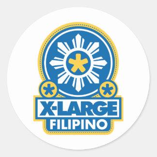 X-Large Filipino - Blue Round Sticker
