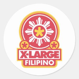 X-Large Filipino - Red Round Sticker