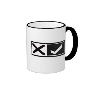 X Mark and Check Mark Mugs