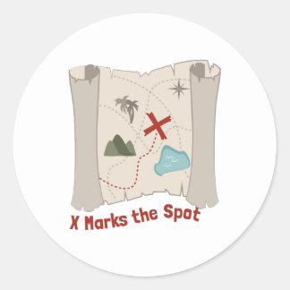 X Marks Spot Classic Round Sticker