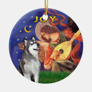 X Mas Angel 3 and a Alaskan Malamute Round Ceramic Decoration