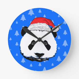 X-Mas Panda Round Clock