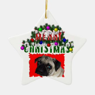 x-mas pug christmas ornament