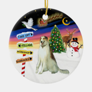 X Mas Signs - Borzoi (Russian Wolfhound) Christmas Ornament
