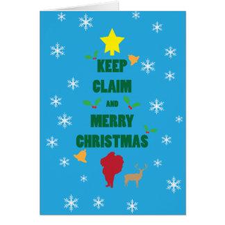 X mas Tree Keep Claim and Merry Xmas Card