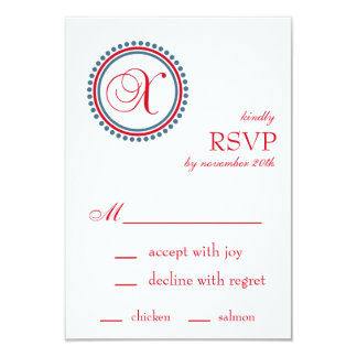 X Monogram Dot Circle RSVP Cards (Red / Blue) Custom Invites