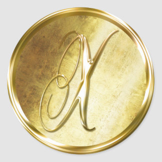 X Monogram Faux Gold Envelope Seal Stickers