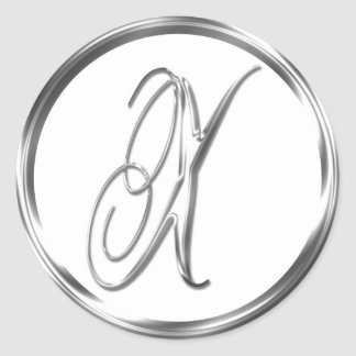 X Monogram Faux Silver Envelope Or Favor Seal Round Sticker