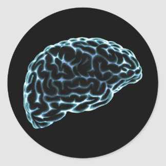 X-RAY BRAIN SIDE VIEW BLUE CLASSIC ROUND STICKER