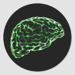 X-RAY BRAIN SIDE VIEW GREEN ROUND STICKERS