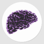 X-RAY BRAIN SIDE VIEW PURPLE ROUND STICKERS