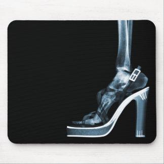 X-RAY HIGH HEEL LADY SKELETON LEG BLUE MOUSE PAD