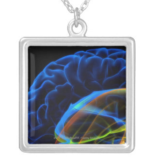 X-ray image of the brain silver plated necklace