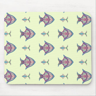 X-ray maroon fish on lemon yellow mouse mat