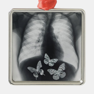 X-ray of butterflies in the stomach Silver-Colored square decoration