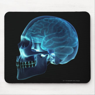 X-ray of the brain inside a skull mouse mat