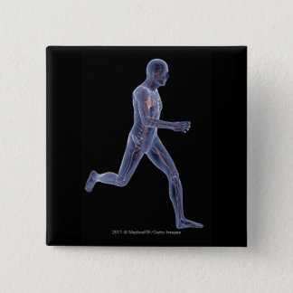 X-ray of the vascular system in a running man 15 cm square badge