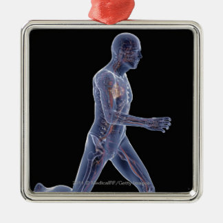 X-ray of the vascular system in a running man square metal christmas ornament