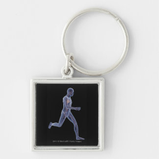 X-ray of the vascular system in a running man Silver-Colored square key ring