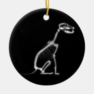 X-RAY PUPPY DOG SKELETON SITTING - B&W CHRISTMAS ORNAMENT