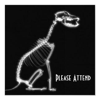 "X-RAY PUPPY DOG SKELETON SITTING - B&W 5.25"" SQUARE INVITATION CARD"