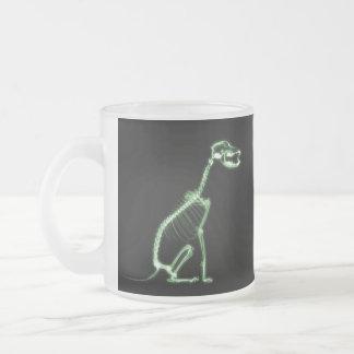 X-RAY PUPPY DOG SKELETON SITTING - GREEN FROSTED GLASS MUG