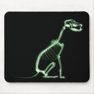 X-RAY PUPPY DOG SKELETON SITTING - GREEN MOUSE PAD