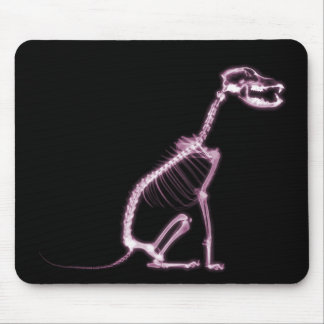 X-RAY PUPPY DOG SKELETON SITTING - PINK MOUSE PADS