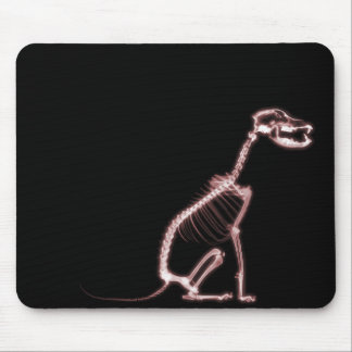 X-RAY PUPPY DOG SKELETON SITTING - RED MOUSE MAT