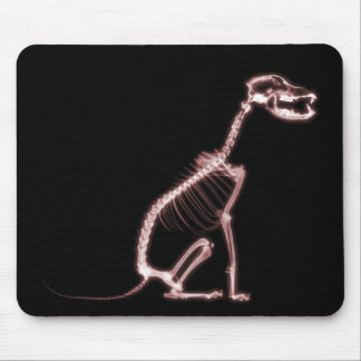 X-RAY PUPPY DOG SKELETON SITTING - RED MOUSEPADS