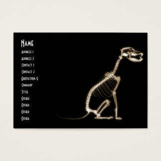 X-RAY PUPPY DOG SKELETON SITTING - SEPIA BUSINESS CARD