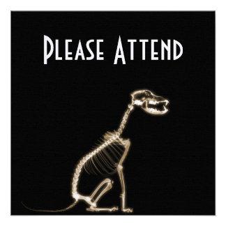 X-RAY PUPPY DOG SKELETON SITTING - SEPIA CUSTOM INVITES