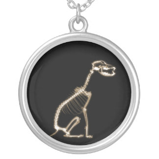 X-RAY PUPPY DOG SKELETON SITTING - SEPIA SILVER PLATED NECKLACE