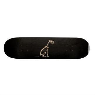 X-RAY PUPPY DOG SKELETON SITTING - SEPIA CUSTOM SKATE BOARD