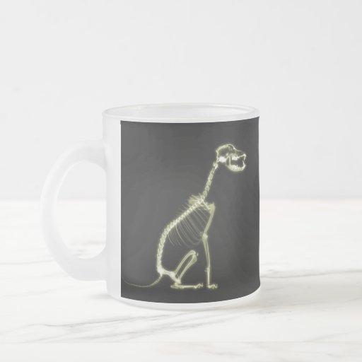 X-RAY PUPPY DOG SKELETON SITTING - YELLOW COFFEE MUGS
