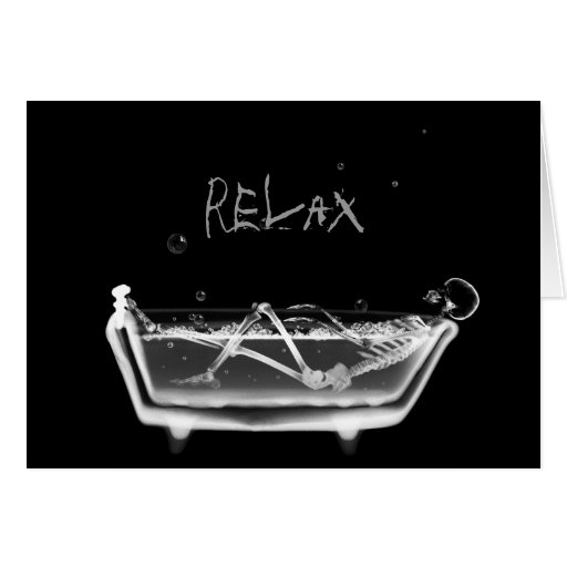 X-Ray Skeleton B&W Bath Time Greeting Cards