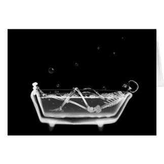X-Ray Skeleton B&W Bath Time Greeting Card