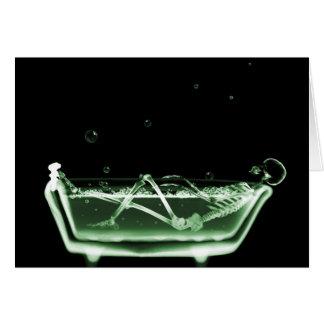 X-Ray Skeleton Bath Black Green Greeting Card