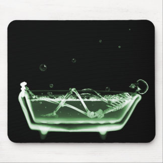 X-Ray Skeleton Bath Black Green Mouse Mat