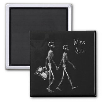 X-Ray Skeleton Couple Traveling B&W Miss You Square Magnet